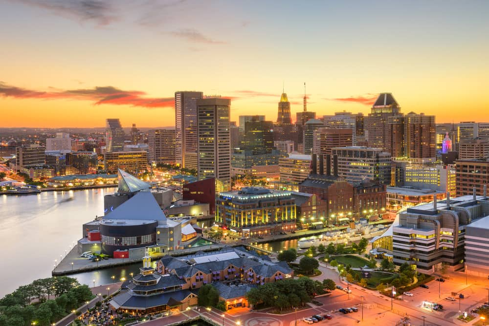 baltimore maryland downtown cityscape